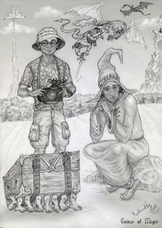 It's like I imagine tourist of the Diskworld and his guide. It's not colour, but may be I do something some time. Colour of Magic Discworld Books, Discworld Characters, Terry Pratchett Discworld, Color Magic, Harry Potter Art, Digital Stamps, Adult Coloring Pages, Color Inspiration, Fantasy Art