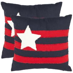"Features:  -Material: 100% Cotton.  -Bold pop art-inspired motif.  -Color: Red / Navy.  Product Type: -Throw pillow.  Color: -Multi-Colored.  Style: -Modern.  Size: -18"" Square.  Shape: -Square.  Cove"