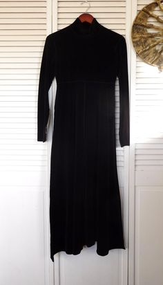 Black Velvet Maxi Dress Faux Velvet Size Large High Collar Mock Fitted Flair Boho Goth Clothing Long Sleeve Vintage by LandofBridget on Etsy