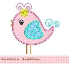 Little Bird Applique -4x4 5x7 -Machine Embroidery Applique Design. $2.99, via Etsy.