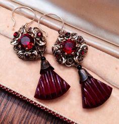 2030's Bohemian Red Czech Filigree Earrings West by WillowBloom