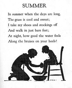 """""""Sing, Little Birdie"""" by Gertrude E. Heath, 1928 by the Saalfield Publishing Company. Black and white illustrations by Helene Nyce, color bookplates by Jan Cragin. Cover by Fern Bisel Peat. Hello Summer, Summer Days, Summer Time, Summer Poems, Home Poem, Poetry For Kids, Nice Poetry, Kids Poems, English Lessons"""