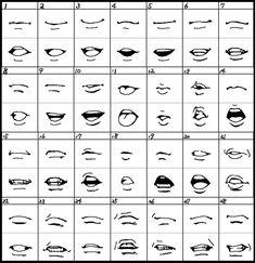 Anime Mouth Drawing, Drawing Cartoon Faces, Cartoon Art Styles, How To Draw Anime Eyes, How To Draw Mouths, Cartoon Mouths, Drawing Cartoons, Gesture Drawing, Manga Drawing Tutorials
