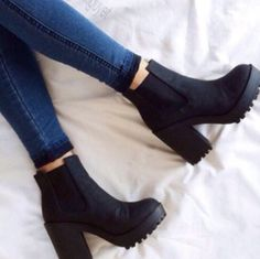 - shoes boots black boots black shoes small heel chelsea boots chunky boots black heels short black h - High Heels Boots, Chunky High Heels, Chunky Boots, Black High Heels, Black Boots, Thick Heel Boots, Low Heels, Black Heeled Boots Outfit, Fall Heels
