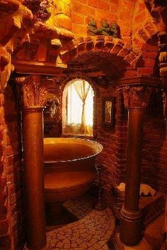 Wing Castle: The Bathroom; the whole castle is amazing. Peter Wing was a fan of Gaudi and it shows throughout the castle. Gothic Bathroom, Bathroom Vintage, Stone Bathroom, Bathroom Bath, Bath Room, Baroque Decor, Interior Architecture, Interior Design, Medieval Castle