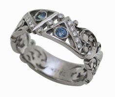 Hand-engraved blue sapphire and diamond ring in white gold by artist Dmitriy Pavlov. Hand Piercing, Hand Engraving, Blue Sapphire, Handcrafted Jewelry, Bridal Jewelry, Jewelry Crafts, Cuff Bracelets, Heart Ring, White Gold