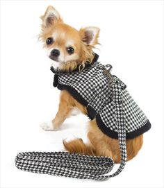 Houndstooth Dog Harness Jacket with Free Leash