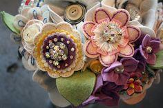 Love the idea of adding a brooch inside a felt flower=bouquet!