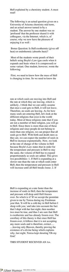 Hell explained by a Chemistry student. This is the most perfect A+ answer ever