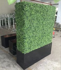 Artificial Topiary Boxwood Hedge with Wooden Planter - Dongyi Artificial Hedges, Artificial Topiary, Artificial Plants, Boxwood Hedge, Wooden Planters, Fake Plants, Steel Frame, Fence, Grass