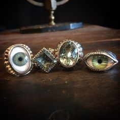 Happy St. Patrick's Day! Seen here are the Beaded Eye ring, Square Gem ring with green amethyst,…