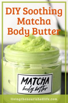 This smooth and ultra creamy DIY matcha body butter is a great way to moisturize dry skin! And it's soothing after being in the sun. #skincare #moisturizer #matcha #diybeauty