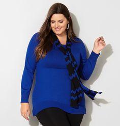 Pullover Sweater with Chevron Scarf - Avenue
