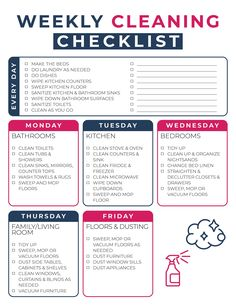 Clean House Schedule, House Cleaning Checklist, Household Cleaning Tips, Diy Cleaning Products, Cleaning Solutions, Cleaning Hacks, Apartment Cleaning Schedule, New House Checklist, Spring Cleaning Schedules