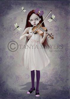 A3 Art Print - Big Eyed Girl Playing Violin - A Dragonflies Song - By Tanya Mayers. $26.00, via Etsy.