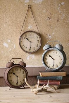 The time flies when decorating your perfect get away! http://www.highcamphome.com/rusted-alarm-clock/