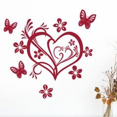 """Style and Apply Valentine Heart Wall Decal Size: 24"""" H x 23"""" W, Color: Dark Green"""