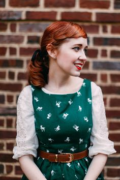 Little Deer Prints Cute Retro Sundress- love the blouse underneath the dress too