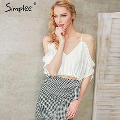 e8dae3265c Simplee Lace up beach blouse shirt women tops Ruffle chifffon white blouse  Elastic backless feminine blouse chemise femme blusas