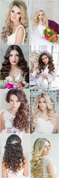 Classic Dwon wedding hairstyles for long hair