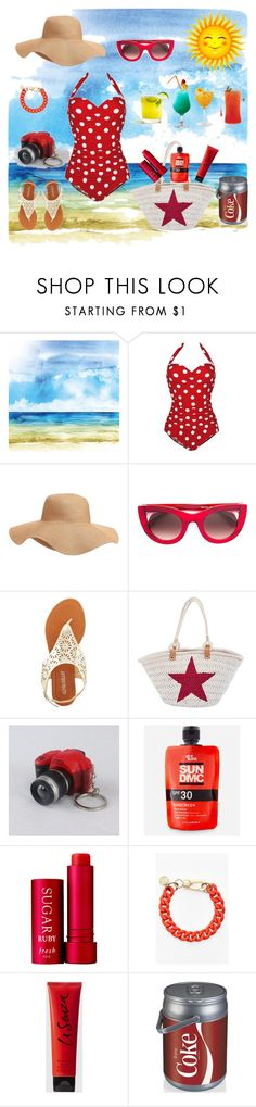 Dreaming of A Happy Beach Day!! by siriusfunbysheila1954 on Polyvore featuring Olivia Miller, San Diego Hat Co., Marc by Marc Jacobs, Thierry Lasry, Old Navy, Let it Block, La Senza, Fresh and Picnic Time