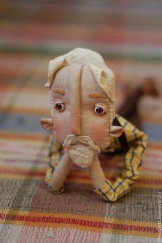 Купить Кареглазый блондин - комбинированный, ручная работа, текстильная игрушка, текстильная кукла, бородач, мужчина