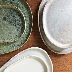 Misfit dishes || Green and white || by Gina Zycher || @glittermountain on Instagram || www.ginazycher.com || handmade ceramics
