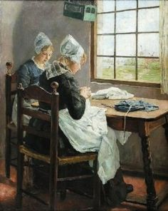 Fritz von Uhde (German painter, born Friedrich Hermann Carl Uhde, 1848–1911) Sisters in the Sewing Room