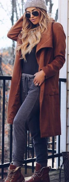 #winter #outfits long brown jacket, dark grey shirt, grey trousers, brown boots