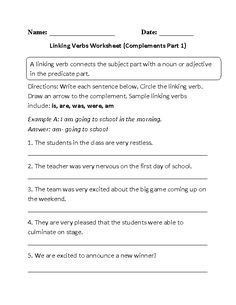 Linking verbs do not show action but instead they rename or describe a subject. These linking verbs worksheets are for students at the beginner, intermediate and advanced level. Linking Verbs Worksheet, Nouns And Verbs Worksheets, 1st Grade Worksheets, Phonics Worksheets, School Worksheets, Types Of Verbs, English For Students, Teaching Verbs, Irregular Past Tense Verbs