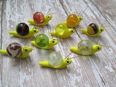 Lot de 3 - escargots de jardin féerique de marbre Miniature en jaune w / graine perle yeux