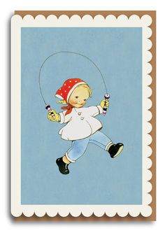 Mabel Lucie Attwell Skipping Greetings Card