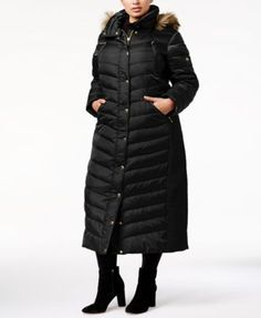 f46ee121b3436 Michael Kors Plus Size Faux-Fur-Trim Down Maxi Coat Women - Coats - Macy s