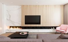 The design for this 107 sq m home in Moscow, Russia, was visualised by Design Rocks with functional minimalism in mind. Keeping only what was deemed to be usefu minimal Functional Minimalist Home With Brave Colours & Bespoke Installations Living Room Tv Unit, Living Room Interior, Home Living Room, Living Room Designs, Living Room Modern, Fireplace Tv Wall, Modern Fireplace, Fireplace Design, Fireplace Ideas