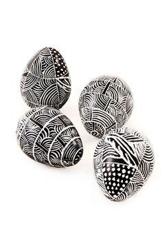 Miniature Black Etched Soapstone Eggs