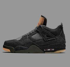 690b403c5ba Jordan 4 Black, Sneakers Nike, High Top Sneakers, Black Denim, Air Jordans
