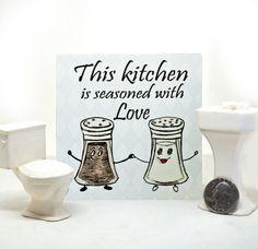 Kitchen Love Ceramic Tile by tamarakraft on Etsy