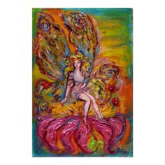 FAIRY OF IRIS POSTER ,by Bulgan Lumini ,Colorful and whimsical acrylic painting with golden foil