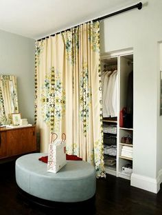 DIY closet | DIY Closet Door Ideas Good idea for something different instead of the standard white doors to replace with. Also the curtains will act as more sound insulation for the downstairs bedroom and I'll will choose a coastal themed curtain