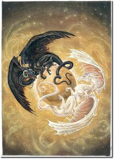 The dragon of darkness and the dragon of light.