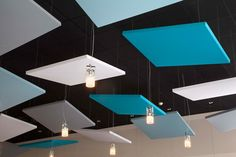 Single-sided Stereo acoustic panels by Texaa® - Akustik ve Ses Yalıtımı Acoustic Ceiling Panels, Acoustic Fabric, Acustic Panels, Office Ceiling, Acoustic Design, Plafond Design, Sound Absorbing, Dropped Ceiling, Office Designs