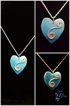 Blue Heart with Silver Wiring