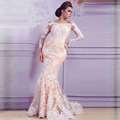 Elegant Long Sleeve Off Shoulder Champange Appliques Lace Evening Dresses Long 2016 Arabic Mermaid Robe De Soiree Manche Longue