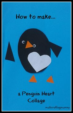 How to make a Penguin Heart collage for Valentine's Day.