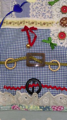 """Close up of Audreys Fidget   Christchurch Fidget Ladies Its amazing what interest you can create with a few bits of """"stuff"""" found around the house"""