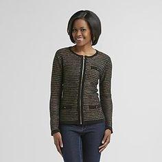 Jaclyn Smith Women's Sweater Jacket in Black Onyx