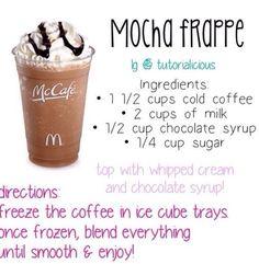 how to make a starbucks double chocolate chip frappuccino Starbucks Drinks, Starbucks Coffee, Mcdonalds Coffee, Mcdonalds Breakfast, Yummy Drinks, Healthy Drinks, Good Drinks, Coffee Drink Recipes, Frozen Drinks
