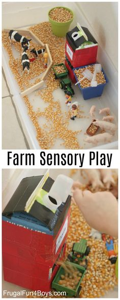 Farm Sensory Play Activity for Preschoolers - Frugal Fun For Boys and Girls - Create a farm sensory bin with a corn silo that really loads a tractor! Fall (and spring) are such - Farm Sensory Bin, Toddler Sensory Bins, Sensory Boxes, Sensory Table, Toddler Learning Activities, Toddler Play, Montessori Activities, Infant Activities, Sensory Play