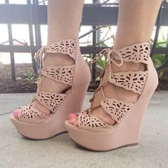 Lovely Laser Cut-Out Lace-Up Wedges