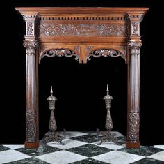 ~ Antique Italian Renaissance Carved Walnut Fireplace Mantel ~ westlandlondon.com